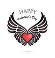 Valentine day heart with angel wings vector image