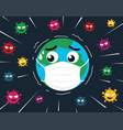 world wearing protective mask vector image vector image