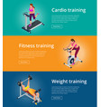 banner set fitness woman working out on exercise vector image
