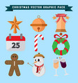 christmas graphic package decoration set vector image