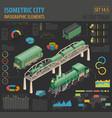3d isometric retro railway with steam locomotive vector image vector image