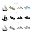 ancient sailboat motor boat scooter marine vector image vector image