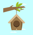 bird house hanging of a branch flat design style vector image vector image