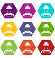 builder icon set color hexahedron vector image