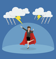Business woman superhero with barrier protecting vector image vector image