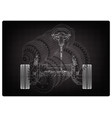 car suspension and gear mechanism on a black vector image vector image
