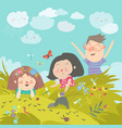 cartoon kids look at insect in grass vector image