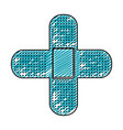 color pencil drawing of band aid in shape of cross vector image vector image