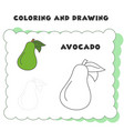 coloring and drawing book element avocado vector image