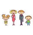 cute doodle family set vector image vector image