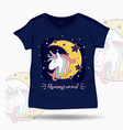 cute unicorn on t shirt kids template vector image vector image