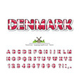 denmark cartoon font danish national flag colors vector image