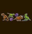 dinosaur set predators jurassic period vector image