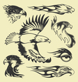 eagle tatoo set vector image vector image
