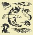 eagle tattoo set vector image vector image