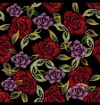 embroidery roses seamless pattern floral vector image