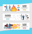 flat superhero horizontal banners vector image vector image