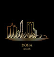 gold silhouette of doha on black background vector image vector image