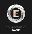 golden letter e logo symbol in the circle shape vector image vector image