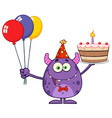 goofy monster holding up a colorful balloons vector image vector image