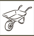 hand drawn farm wheelbarrow simple sketch vector image vector image