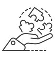 hand hold puzzle solution icon outline style vector image