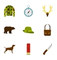 Hunting icons set flat style vector image vector image