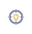 idea line icon light bulb or lamp in target sign vector image