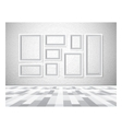 Interior picture frames on white wall vector image vector image