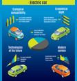 isometric eco cars infographic template vector image