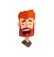 laughing redhead bearded man male emotional face vector image vector image