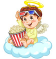 little baby angel watching movie vector image vector image