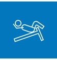 Man doing crunches on incline bench line icon vector image vector image
