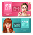 model face salon banners vector image vector image
