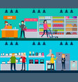 people in shop horizontal banners vector image vector image