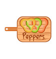 peppers on the cutting board vector image