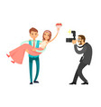 professional photo session of newlywed groom bride vector image vector image