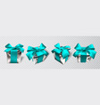 realistic gift box with blue bow isolated on gray vector image