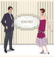 retro fashion party card background man woman in vector image vector image