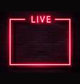 retro neon red live frame on dark vector image vector image