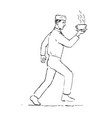 retro waiter running serving coffee drawing vector image vector image