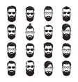 set bearded men faces hipsters vector image vector image