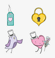 set heart padlock with heart and bird to vector image vector image