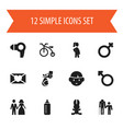 set of 12 editable family icons includes symbols vector image vector image