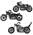 set vintage motorcycle isolated on white vector image
