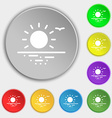 sunset icon sign Symbol on eight flat buttons vector image
