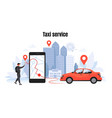 taxi ordering car rent and sharing concept with vector image