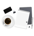 top view business coffee break with notepad phone vector image