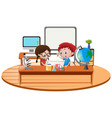 two boy in science classroom vector image