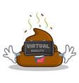 virtual reality poop emoticon character cartoon vector image vector image